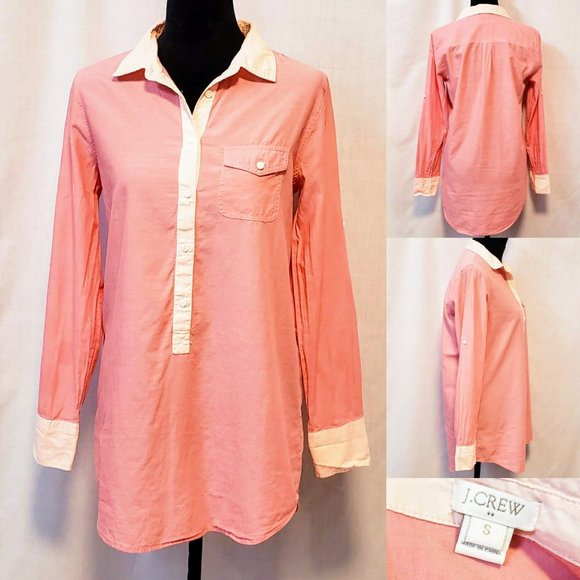 J. Crew Tops - 💜J. Crew mid button coral/peach top size S